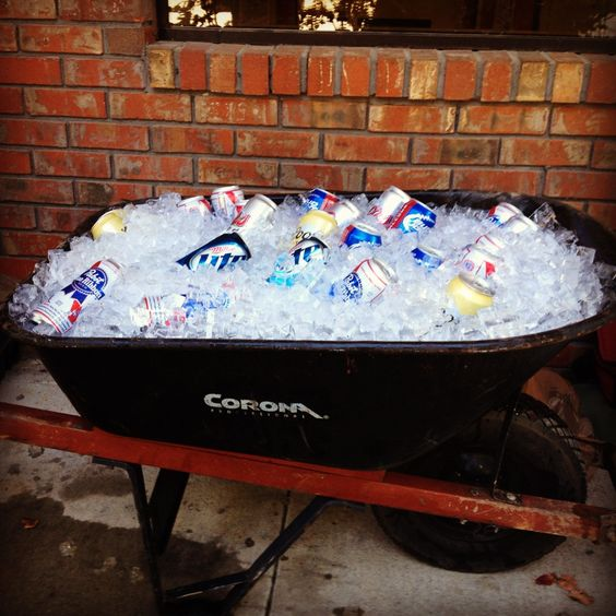 cold drinks in wheelbarrow
