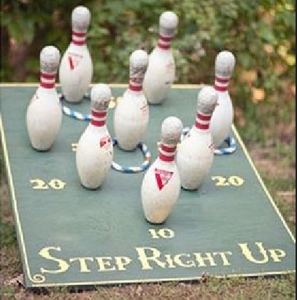 bowling pins used as a carnival game