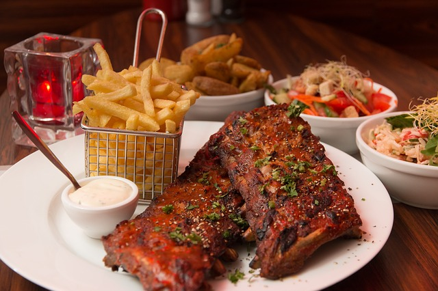 ribs fries and other food