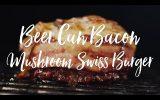 Beer Can Bacon Mushroom Swiss Burger