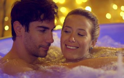 Couple in Inflatable Hot Tub