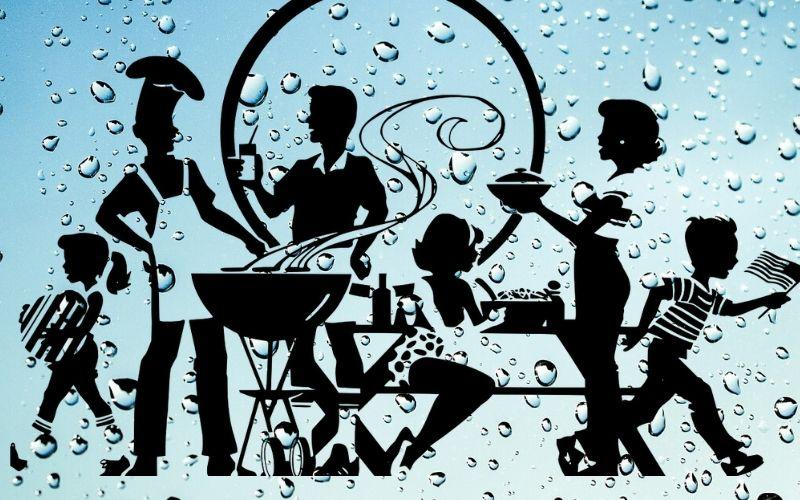 grill in the rain